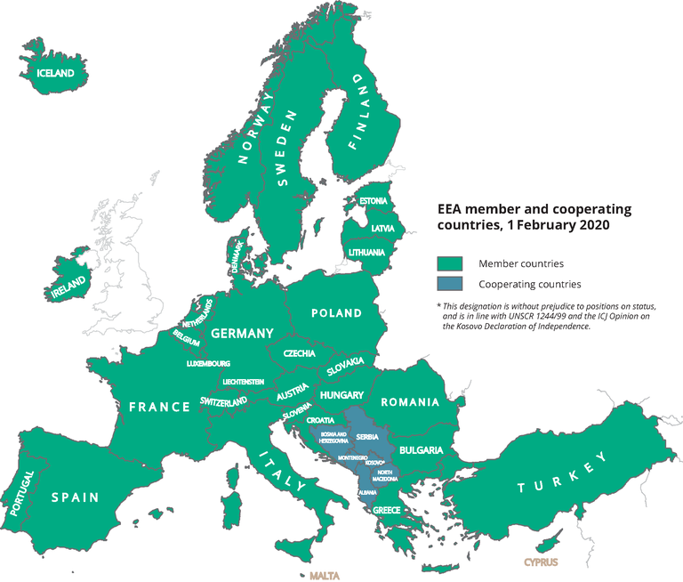 Illustration of EEA member states and cooperating countries